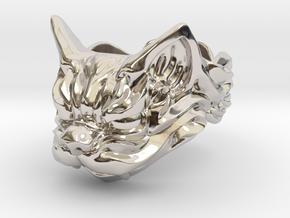 Fu Cat (Komaneko) Ring in Rhodium Plated Brass: 13 / 69