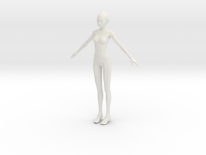 1/24 Female Body for Modeling in White Natural Versatile Plastic
