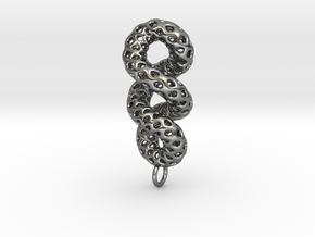 Cruller - A Pendant in Metal in Polished Silver