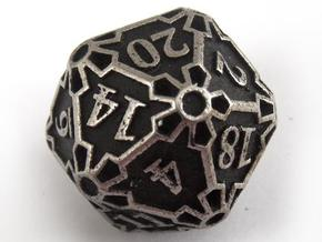 Huge d20 in Polished Bronzed Silver Steel