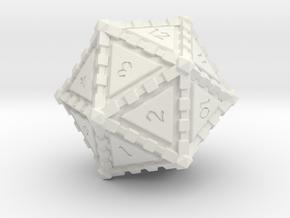 D20 Edged in White Natural Versatile Plastic