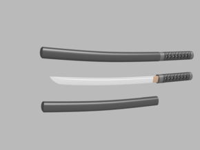 Wakizashi - 1:6 scale - Curved Blade - No Tsuba in Smooth Fine Detail Plastic