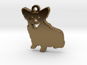 Smiling Corgi (with ring) in Polished Bronze