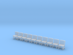 10 Chairs HO Scale in Smooth Fine Detail Plastic