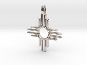Zia Sun Native American Symbol Jewelry Pendant 2.5 in Rhodium Plated Brass