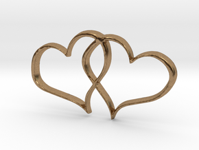 Double Hearts Interlocking Freehand Pendant Charm in Natural Brass