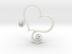 Stand Up Heart Decoration in White Natural Versatile Plastic