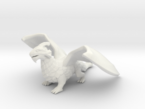 Inquisitive Dragon in White Natural Versatile Plastic