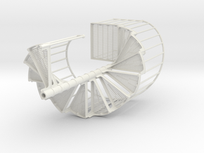 Industrial Spiral Staircase (Clockwise) in White Natural Versatile Plastic: 1:12