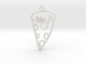 Pizza Charm! in White Strong & Flexible