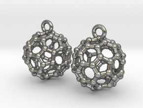 BuckyBall C60 Earrings 1 cm. 2 pieces. in Natural Silver