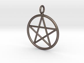 Simple pentagram necklace in Polished Bronzed Silver Steel