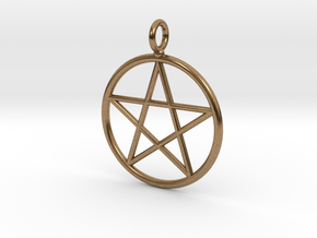 Simple pentagram necklace in Natural Brass