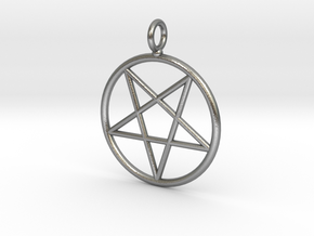 Overturned pentagram necklance (simple) in Natural Silver