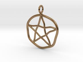 Warped pentagram necklace in Natural Brass