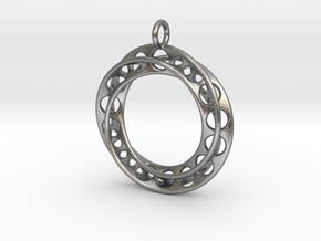 Moebius Band Ø 30mm with Big Loop in Natural Silver