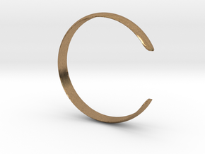 Curved Bangle Small A in Natural Brass