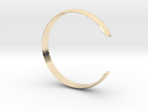 Curved Bangle Small A in 14k Gold Plated Brass