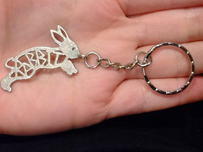 Rabbit Keychain in Polished Bronzed Silver Steel