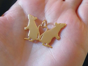 Rat Heart Pendant in 14k Gold Plated