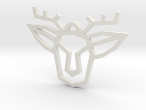Geometric Deer Pendant in White Natural Versatile Plastic