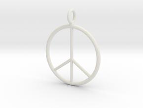 Peace symbol necklace in White Natural Versatile Plastic