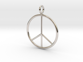 Peace symbol necklace in Rhodium Plated Brass