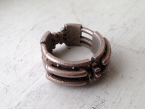 Epic Steampunk Ring in Polished Bronzed Silver Steel