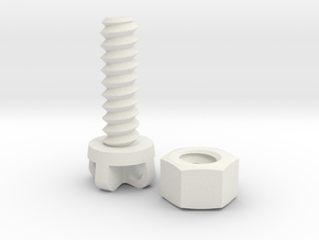 Bolt 8x25 and Nut  in White Natural Versatile Plastic
