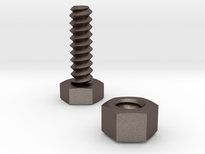 Standard bolt and nut in Polished Bronzed Silver Steel: Medium