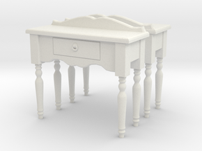 Hall side table 01. O Scale (1:48) in White Strong & Flexible