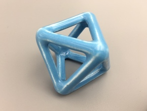 Octahedron Wireframe in Gloss Blue Porcelain
