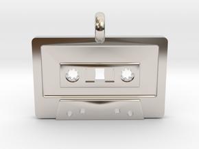 Cassette Tape Pendant in Rhodium Plated Brass