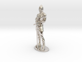 Human Fighter Miniature in Rhodium Plated Brass: 1:55