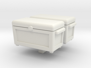 Ice Chest Cooler 2 pack 1-87 HO Scale in White Natural Versatile Plastic