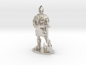 Dwarf Fighter Miniature in Rhodium Plated Brass: 1:55