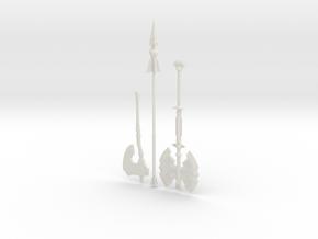 """BotW"" Basic Weapons Set in White Natural Versatile Plastic: 1:12"