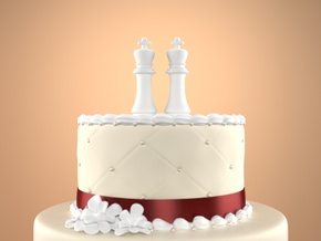 Chess Cake Topper (King and King) in White Natural Versatile Plastic: Small