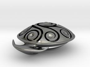 Handpan Instrument Pendant v3 in Polished Silver