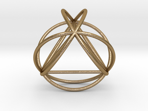 TetraSphere w/nested Tetrahedron in Polished Gold Steel