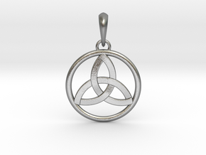 Pendant Amulet Triquetra Celtic Trinity Knot in Natural Silver (Interlocking Parts)