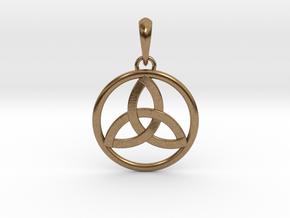 Pendant Amulet Triquetra Celtic Trinity Knot in Interlocking Raw Brass
