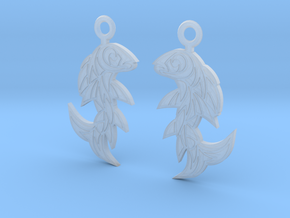 Shard Fish Earrings in Smooth Fine Detail Plastic: Medium
