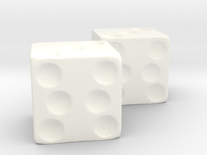 Jumanji Dice  2 in White Strong & Flexible Polished