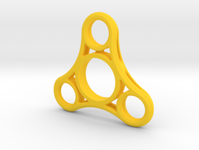 Tri Lobe Fidget Spinner - Micro Mini in Yellow Strong & Flexible Polished