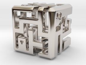 Maze #1 in Rhodium Plated Brass