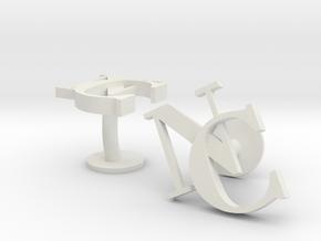 NC Cufflinks in White Natural Versatile Plastic