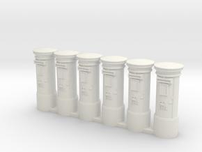 Post Box UK. HO Scale (1:87) in White Natural Versatile Plastic