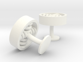 spiral cufflinks in White Processed Versatile Plastic