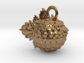BlowFish Pendant in Natural Brass